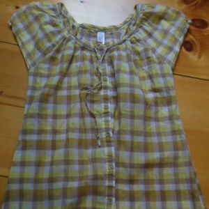 LUCY XS Yellow Gingham Peasant BoHo Summer Top